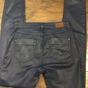 Zara Jeans - Zara Denim Skinny Blue Wax Coated Jeans size 4